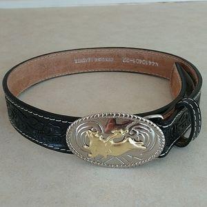 NWOT FIRM Nocona bull rider buckle black belt